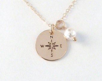 Compass Necklace Wife Gift Gift box with Card Rose Gold Compass Necklace Gold Compass Necklace Silver Compass