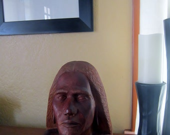 Vintage Wood Sculpture Pacific Islander Male Carved Bust 1972 Signed by Artist Madins Retro Wood Sculpture Bust Native Ethnic Carving