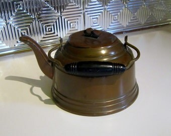 Vintage Brass Tea Pot Coffee Water Pot Rustic Pot with Wood Handle Ornate Brass Accent Retro Metal Flower Pot