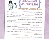 Mason Jar Bridal Shower Mad Libs - Wedding Guest Book Alternative - Printable Marriage Advice Madlibs PDF / Rustic Chic Design