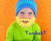 Beard Hat- Bearded Beanie- Blue with pom pom and Blonde Beard