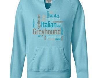 Italian Greyhound Ladies Garment Dyed Hoodie Sweatshirt