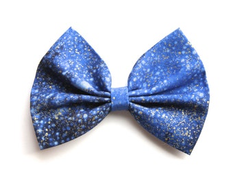 SALE - Effy Hair Bow - Shades of Blue/Metallic Gold Speckled Hair Bow with Clip