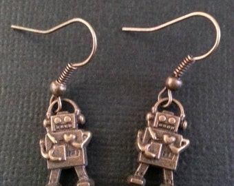 Little Bronze Love Robot Earrings
