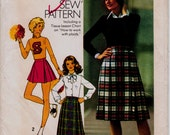 """Pleated Skirt Size 8 Vintage 1970s Sewing Pattern,Simplicity 7640, Waist 24"""" (61 cm),Knife Pleat Skirt in 3 Lengths, Free US Shipping"""