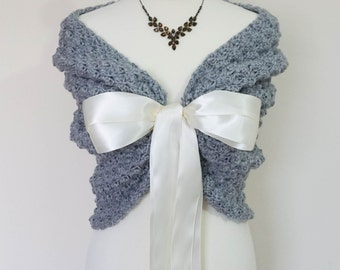 Wraps Shawls, Gray Wedding Cape, Bridal Stole, Crochet Shawl, Spring Wedding Bolero Jacket, Bridal Wrap, Bridesmaid Shrug, Crochet Bolero