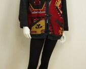 Womens tribal jacket Vintage boho wool coat Toggle kilim jacket Bohemian clothing Ikat coat Oversized boxy jacket handwoven jacket M L XL