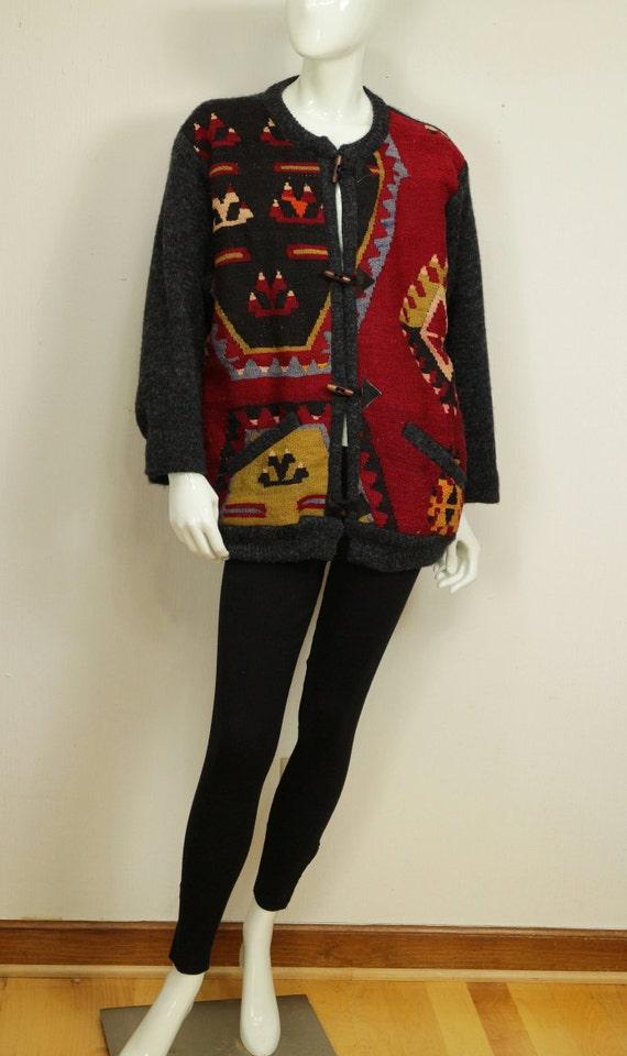 kilim jacket tribal vintage clothing xl womens boho ethnic