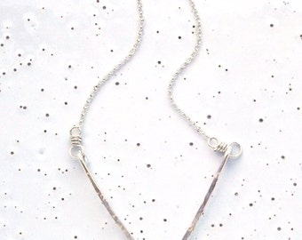Sterling Silver Medium Textured Chevron Necklace