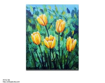 Yellow Tulips Painting Original Canvas Large Wall Art