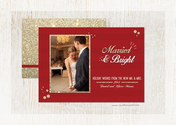 Newlywed Christmas Card Married And Bright Photo Holiday Card