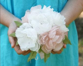 Blush Ivory Bridal Bouquet, Pink Wedding Bouquet, Blush Pink Bouquet, Flower Girl Bouquet, Bridesmaid Bouquet, Petite Bouquet