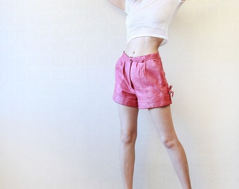 Candy pink leather high waist hot pant mini shorts M