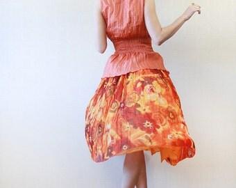 Bright orange yellow gauze rayon full pleated midi skirt