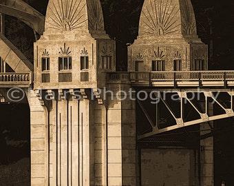 Masculine Brown Neutral Sepia Art Deco Bridge Architecture Oregon Stylized Art Photography signed matted 8x10 Giclée print
