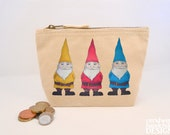 Gnomes Canvas Zip Purse, Makeup Bag, Coin Purse, Small Accessory Pouch