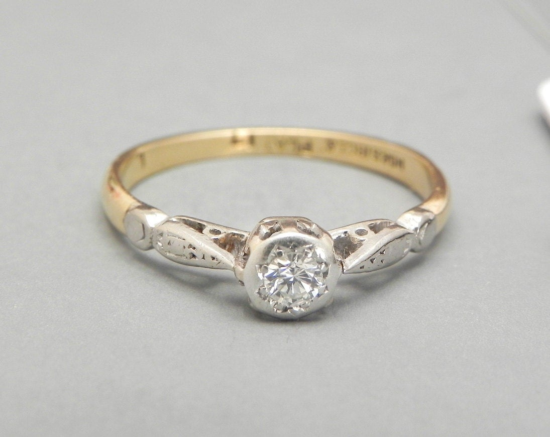 Vintage Diamond Engagement Ring 1920s 0 17ct Diamond Solitaire 18K Gold And P