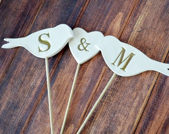 Wedding Cake Topper - Personailzed Birds and Heart