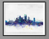 Pittsburgh Skyline - Watercolor Art Print Poster - Housewarming, Home Decor, Wall Hanging, Pittsburgh Art