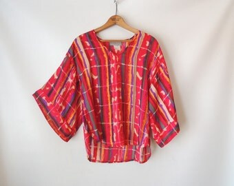 80s Semi Sheer Blouse / Silky Red Striped Blouse / Kimono Sleeves 3/4 Length / Colorful Watercolor Paint Blouse / V-Neck Top / Small Medium