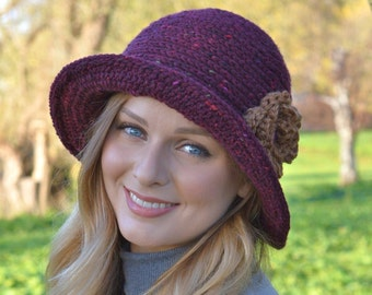 Crochet Pattern Downton Abbey Cloche Hat Easy Crochet Hat Pattern Instant download PDF Digital Pattern