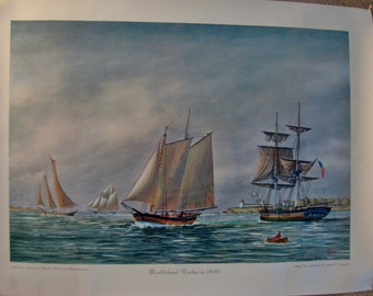 Vintage Marblehead Harbor in 1840 Vintage Poster Size Print - New England Vintage Tall Ship Poster - Marblehead, MA Harbor 1840 Scene