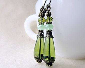 Olive Green Earrings with Jade Crystals. Long Dangle Victorian Czech Glass Teardrop Earrings. Handmade Downton Abbey Jewelry Gifts.