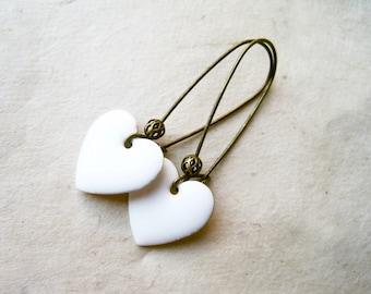White Heart Earrings, Glossy White Enamel Heart Charms on Bronze Kidney Ear Wires. Simple Bridal Jewelry. Minimalist Everyday Cute Earrings.
