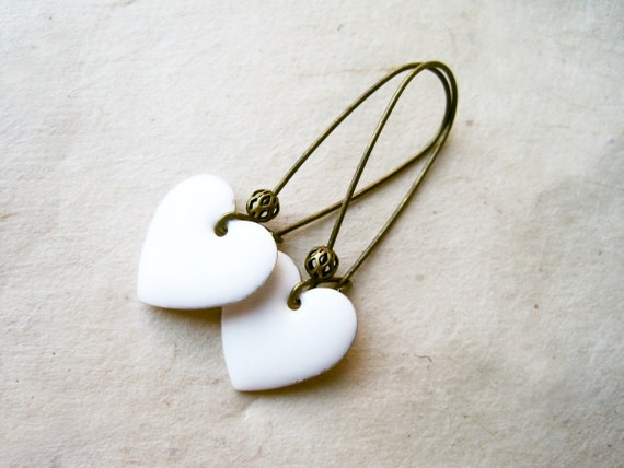 White Heart Earrings. Glossy White Enamel Heart Charms on Bronze Kidney Ear Wires. Simple Bridal Jewelry. Minimalist Everyday Cute Earrings.