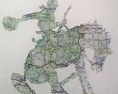 Bucking Bronco Original Art piece - Paper cut from a vintage 1970s map of Colorado, New Mexico & Arizona