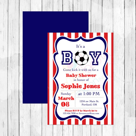 USA Soccer Theme Baby Shower Invitation Or Evite