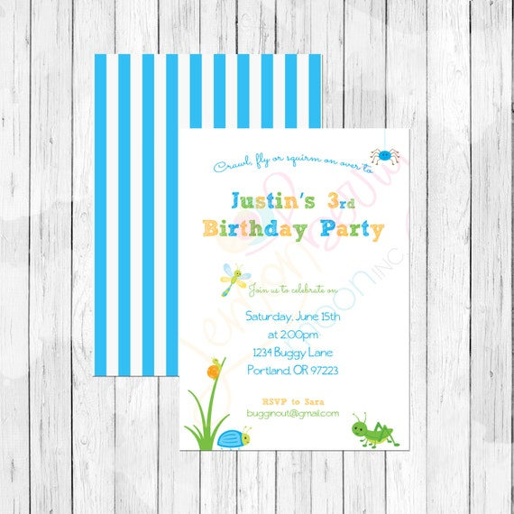 Bug Themed Birthday Invitation Or Evite For A Boy