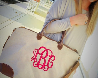 Jute Weekender Bag Monogram Font Shown INTERLOCKING in bright pink