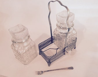 Dual Vintage Pickle Castor with Silver Plated Caddy, Fork & Drip Jar