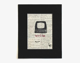 vintage dictionary print // upcycled dictionary page art // gift for writer // recycled dictionary page // vintage office decor