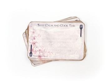 Retro Bridal Shower Recipe Cards, Funny Recipe Cards, Keep Calm, Hostess Gift, Shabby Pink, 4x6 Recipe Cards, Set of 12