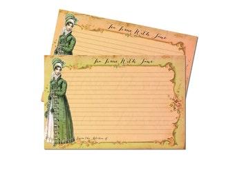 Bridal Tea Party Recipe Cards, Bridal Shower Recipe Card Set, Cottage Chic, Pale Pink, Green, Jane Austen Gifts, 4x6, Garden, Set of 12
