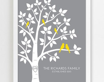 Personalized Wedding Gift for Couple Gift for Wedding Present, Newlywed Gift for Engagement Gift, Family Tree, Family Name Art Print