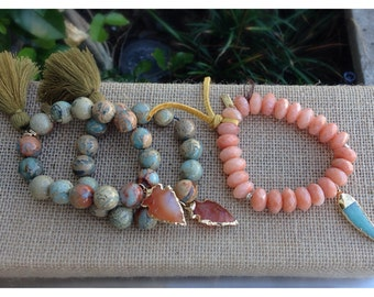 Blue Opal, Jasper Arrowhead stretch bracelet