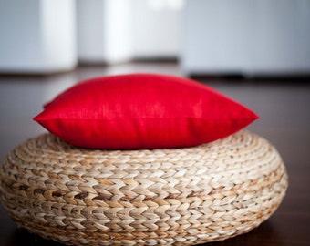 Red linen pillow cover - throw pillows - cushion case - throws - sham   0055