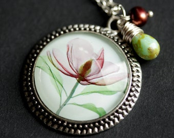 Flower Necklace. Xray Flower Art Pendant with Dark Mauve Fresh Water Pearl and Pale Green Teardrop. Floral Necklace. Handmade Necklace.
