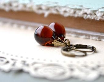 Brown Earrings, Glass Teardrop Earrings, Topaz Drop Earrings, Antique Brass Earrings, Dark Amber Earrings, Simple Dangle Earrings Etsy UK