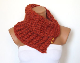 Cowl Neck Warmer / Cinnamon / Hand Knit,Colorfull Button neck warmer..Cozy scarves,cozy knit,capelet,for her,gifts,winter accessories,