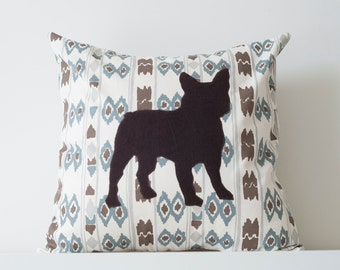 Ikat Pillow Cover, Bulldog Applique, 18x18 Inches, Throw Pillow, Neutral Colors, Quirky, Brown, Blue, Natural Cotton