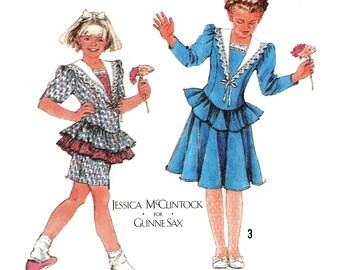 "1988 Girl's Designer Dress-Jessica McClintock for Gunne Sax-Princess Seams, Ruffles, Lace Trim Collar, Simplicity 8880, Sz 10 Breast 28 1/2"""