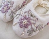 Special Occasion Personalised Baby Shoes - Baptism, Christening Shoes - Hand Embroidered and Beaded