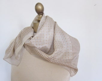 SILK scarf , NEAT 1970s GEOMETRIC ,   Square scarves, cream silk, hand rolled, head wrap, neck scarf