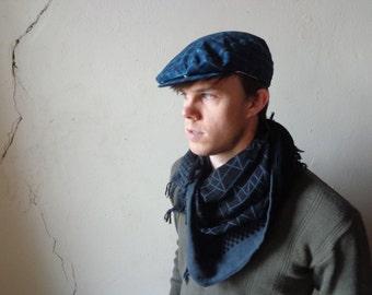 vintage flat cap/ plaid print/ navy blue/ hand tailored// large