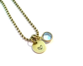 Small Charm Necklace, w/ Swarovski Crystal, Stamped Necklace, Handstamped
