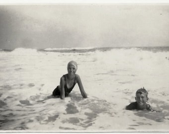 Old Photo Girl and Boy at Beach in Waves Swimsuits Deauville Beach New Jersey 1920s Photograph snapshot vintage Children
